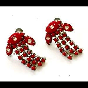 1940s Art Deco Rhinestone Earrings Red
